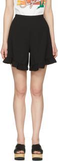See by Chloe Black Ruffle-Hem Shorts