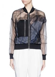 3.1 Phillip Lim Black Tulle Double Layer Bomber Jacket