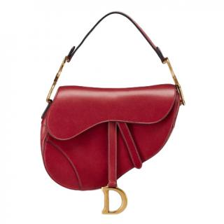 Dior Red Calfskin Saddle Bag