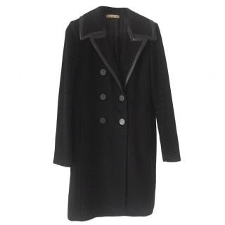 Balenciaga Leather-Trimmed Double Breasted Coat