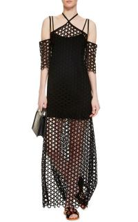 Isa Arfen Black Eyelet Cold-shoulder Long Dress