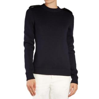 Saint Laurent Shoulder-Epaulette Wool Sweater
