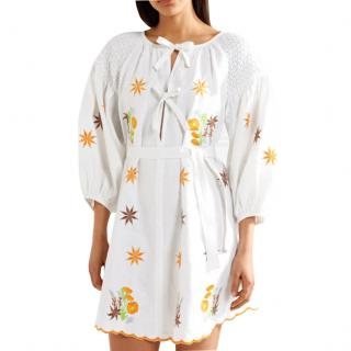 12539e428b Innika Choo Botanical White Mini Smock Dress