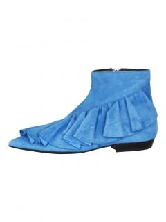 J.W. Anderson Blue Ruffle-Trimmed Suede Ankle Boots