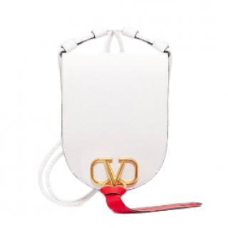 Valentino Vring Medium White Leather Cross-Body Bag