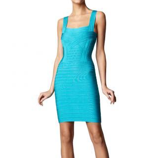 Herve Leger Turquoise Bandages Dress