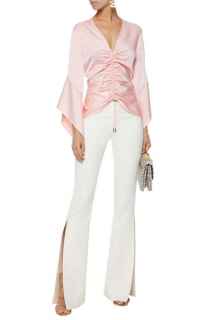 Peter Pilotto Pale Pink Ruched Satin Blouse