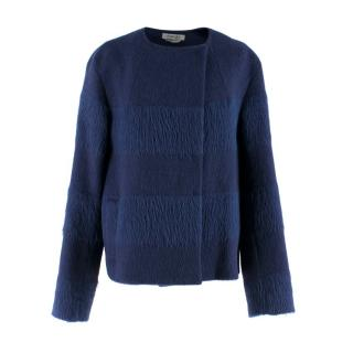 Sportmax Defile Dark Blue Alpaca Wool Coat