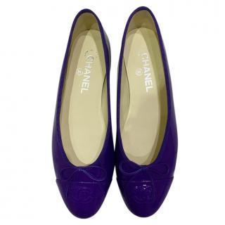 Chanel Purple Patent Leather Ballet Flats