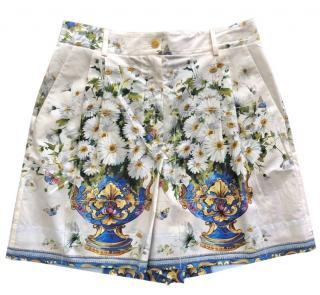 Dolce & Gabbana Sicily Print Daisy Shorts