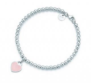 Tiffany & Co Return To Tiffany Bead Bracelet W/ Pink Enamel Heart Tag