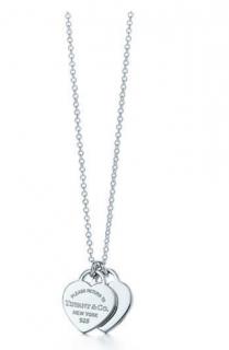 Tiffany & Co Silver  Return To Tiffany Mini Double Heart Tag Necklace