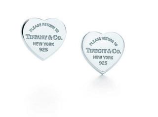 Tiffany & Co Silver Mini Heart Tag Earrings