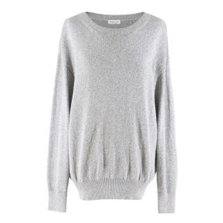 Dries Van Noten Metallic Silver Oversized Sweater
