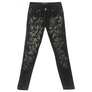 Roberto Cavalli Embellished Snakeskin-Effect Jeans