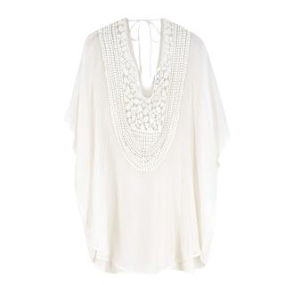 Miguelina White Crochet-Paneled Silk-Chiffon Kaftan
