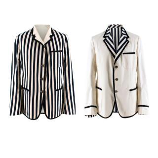 Gucci Men's New Palma Solid-to-Stripe Reversible Blazer