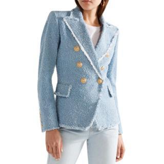 Balmain Double-Breasted Boucl�-Tweed Blazer