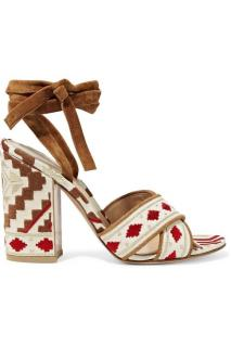 Gianvito Rossi Cheyenne Suede-Trimmed Embroidered Canvas Sandals