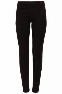 The Row Black Suede Leather Slim Leggings