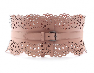 Alaia Vienne Pink Laser-Cut Leather Waist Belt
