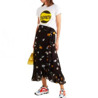 Ganni Floral-Print Black Wrap Skirt