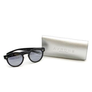 Avrone Black & Silver Mirror Lens Round Sunglasses