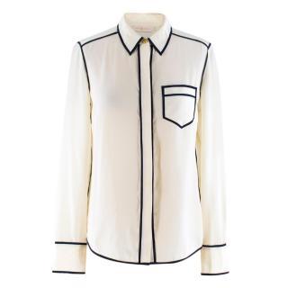 Tory Burch Cream Silk Shirt Blouse