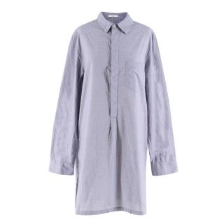 Adam Lippes Blue Houndstooth Check Shirt Dress