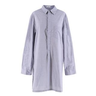 Adam Lippes Blue Houndstooth Check Shirt Dress