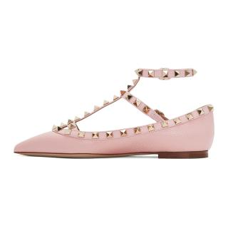 Valentino Pale Pink Rockstud Ballerinas Flats