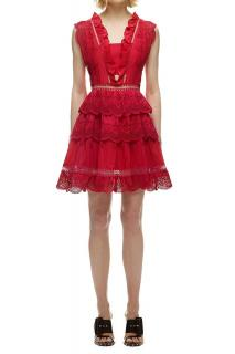 Self Portrait Three Tiered Peplum Lace Dress In Red