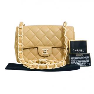 Chanel Beige Lambskin Classic Flap Bag
