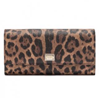 Dolce & Gabbana Leopard Print Continental Wallet