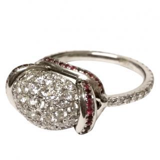 Bespoke Diamond & Ruby Bombe Ring