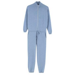 Saint Cashmere Blue Cashmere Jumpsuit