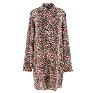 Equipment Leopard Print Silk Shirt Dress