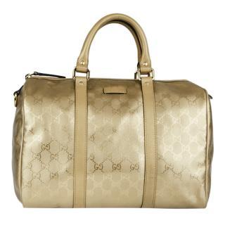 Gucci Metallic Gold Boston Bag