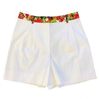Dolce & Gabbana Floral Trim White Shorts