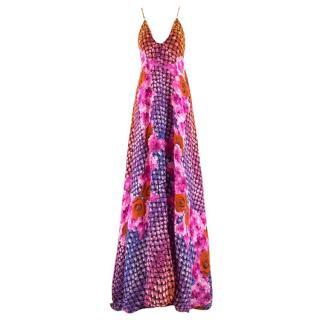 Athena Procopiou Floral Print Silk Long Dress
