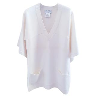 Chanel Shawl-Effect Cashmere Top