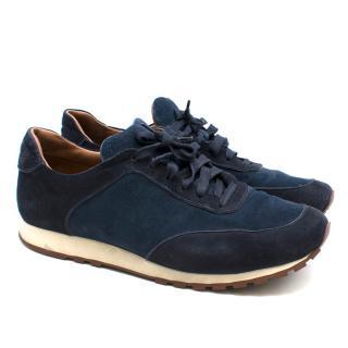 Loro Piana Navy Weekend Walk Suede Sneakers