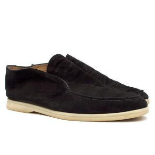 Loro Piana Black Open Walk Suede Ankle Boot