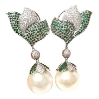 Bespoke Pearl Drop Diamond & Emerald earrings