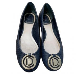 Dior Navy Python Ballet Flats