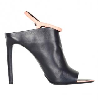 Balenciaga Black Leather Mule Sandals