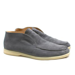 Loro Piana Grey Open Walk Suede Loafers