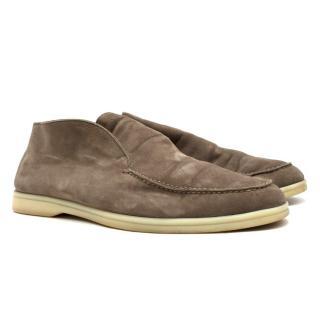 Loro Piana Tan Open Walk Suede Loafers