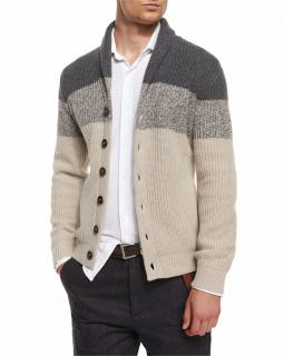 Brunello Cucinelli Colorblock Cashmere Knit Cardigan