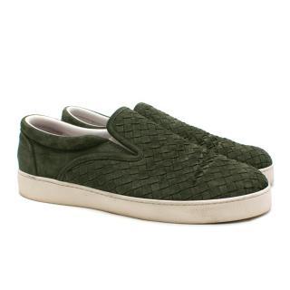 Bottega Veneta Green Intrecciato Suede Dodger Sneaker - Current Season